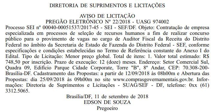 Licitação banca Sefaz-DF