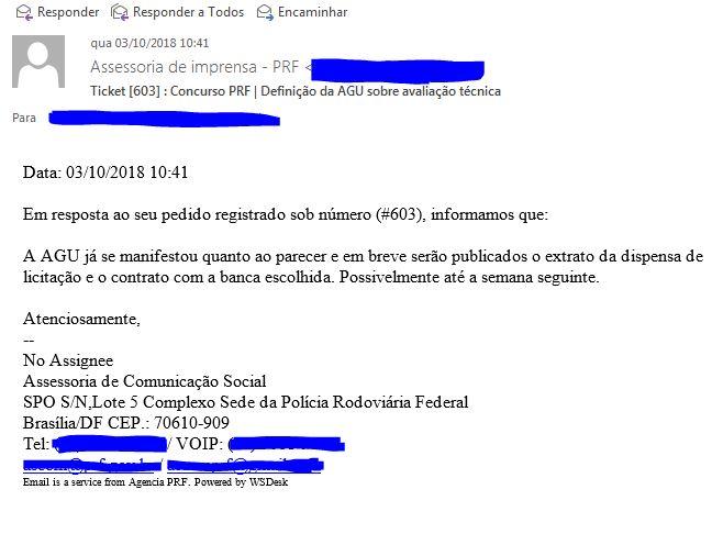 resposta assessoria PRF