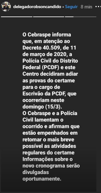 Comunicado do diretor-geral da PCDF
